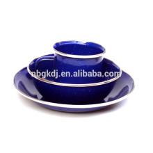 Высокое качество эмаль кружку/тарелку/миску устанавливает с блестящей голубой цвет