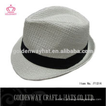 Chapéu barato de Fedora Branco com faixa preta