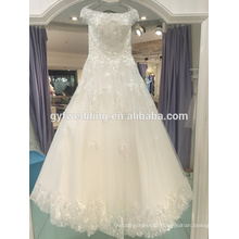 Wedding dress 2017 new word shoulder spring Korean bride lace simple Qi Qi thin wedding dress LJ-20035