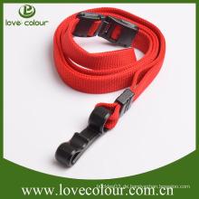 Kundenspezifisch Kein Mindestbestellwert Polyester rote Farbe Lanyard mit Kunststoff-Montage