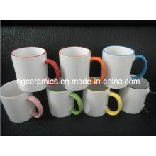11oz Color Rim & Handle Mug Sublimation Revêtue