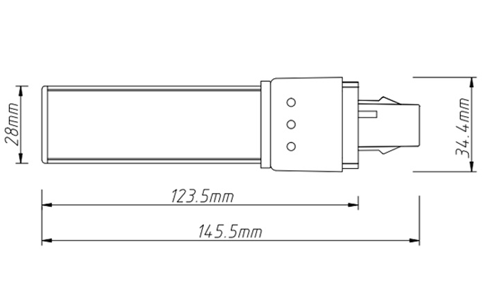 6w led tube light size PL-15-6W