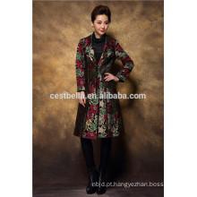 Casaco de trincheira de inverno bordado para mulheres e casacos longos para senhoras
