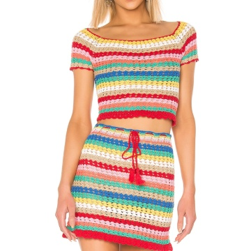 Ensemble Crop Top Et Jupe Rainbow Stripes Femme
