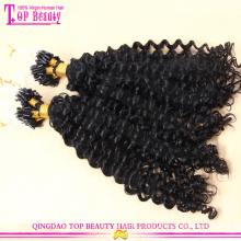 Wholesale micro rings loop kinky hair extensions indian human remy micro braiding hair