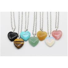 Natural Semi Precious Stone Heart Pendant Necklace 45cm Chain
