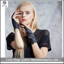 Top Schaffell Kurzdame Mode Kleid fahren Punch Leder Handschuhe