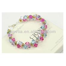 Encanto multicolor cristal diamante frisado pulseiras para meninas
