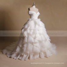 Amazing A-Line Cap Sleeves Lace Applique Beads Bodice Ruffled Organza Ball Gown Robe de mariée