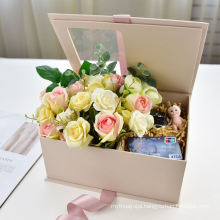 Luxury Rose Gold Gift Box Flower Square Paper for roses packaging