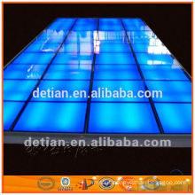 wooden floor/ luminous glass platform