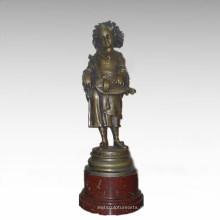 Kinderfigur Statue Musik Spieler Mädchen Bronze Skulptur TPE-913
