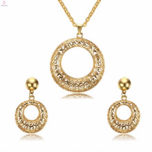 Fashion Round Crystal Stainless Steel Jewelry Earring Gold Jewelry Sets For Women