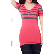 Seamless V-Neck Elastic Thin Stripes Short Sleeve T-shirt