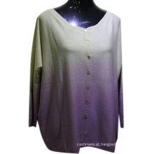 Alta qualidade 55% seda 45% cashmere blended ombre cardigan mulheres, camisola cardigan