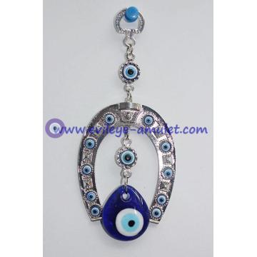 Blue Evil Eyes on Horse Shoe Wall Hanging Amulet Charm