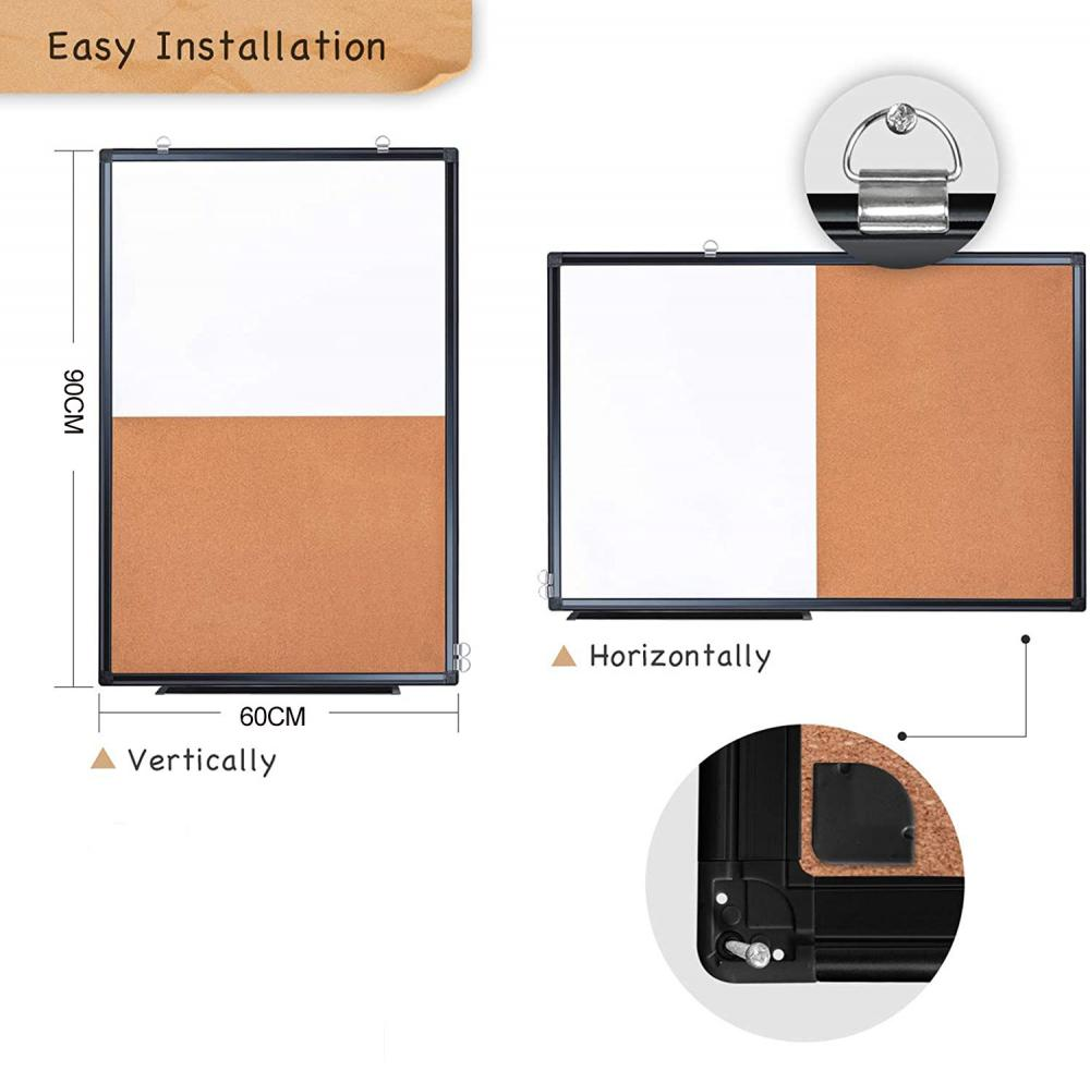 Black Magnetic Whiteboard & Cork Board