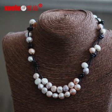 Magnífico moda de cuero real collar de perlas de agua dulce al por mayor (e130153)
