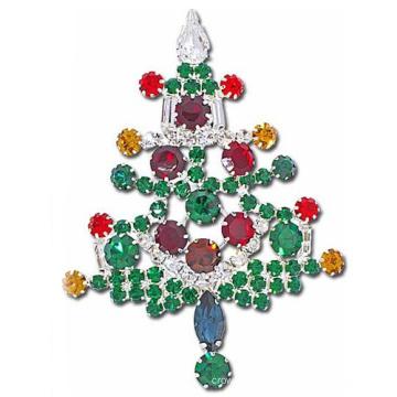 Красочные цветы Shaped Rhinestone Рождественская елка Pin Брошь для праздников
