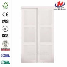 60 polegadas x 80 polegadas 2030 Series Composite White 3-Lite vidro temperado vidro porta deslizante