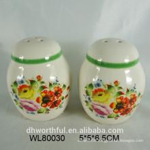 Ceramic flower decal printing salt and pepper set