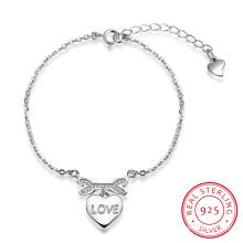 2017 Neuer Entwurfs-romantische Art- und Weise925 Sterlingsilber-Armband-Herz-Form-Liebe