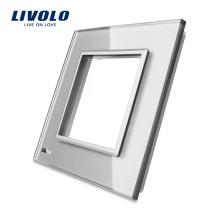 Livolo Горячие Продажи Серого Закаленного Кристаллического Стекла 80 мм * 80 мм Одного Стеклянной Панели Для Настенного Сенсорного Выключателя Стандартные Размеры VL-C7-SR-15