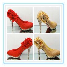Nuevo Arriva florece los zapatos nupciales rojos de la boda (WS-5006)