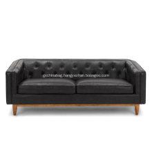 Alcott Oxford Black Leather Sofa