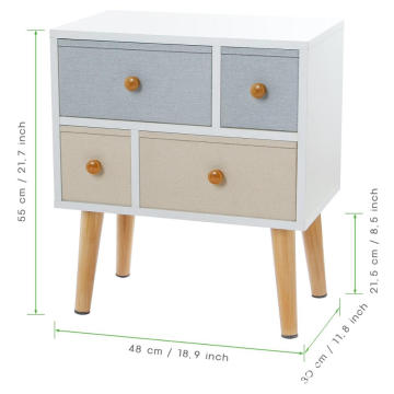 Nightstand Bedside Table with 4 Drawers Cabinet
