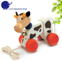 Kids Good Friend Wooden Lovely Cow Pull Roll-Along Toy for Toddlers