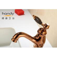 Brass Single Handle Basin Mixer Rose Gold