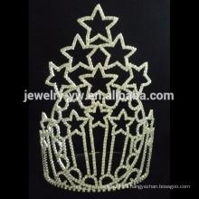 Tiara de la corona del desfile alto de la estrella de la joyería del pelo de la manera de la Navidad