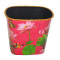 Plastic Lotus Printed Pattern Open Top Mülleimer für Haus / Küche / Büro (B06-069)