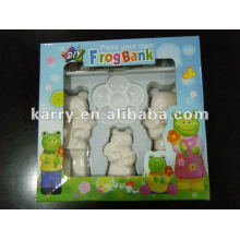 FROGS CERAMIC PAINT DIY 6 COLORS 5ML PER COLOR WITH 3 CERAMIC FROGS A BRUSH AND PALETTE