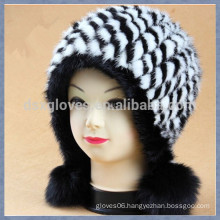 Black and White Mink Fur Cap With Solid Spheres