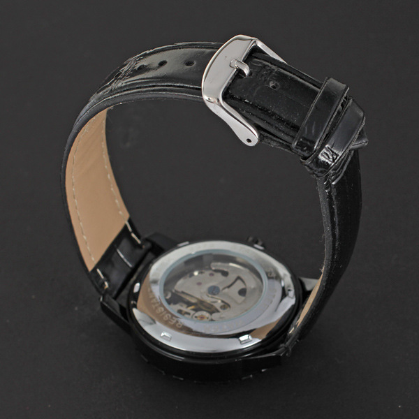 personalized alloy bezel watch with leather band winner mechanical watch