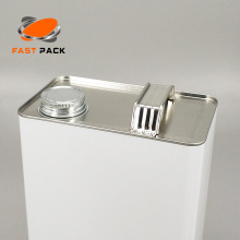 F-style square metal tin container with screw lid