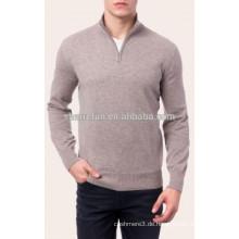 Großhandel klassischen 12gg gestrickte Hälfte-Reißverschluss reine Männer Kaschmir-Pullover