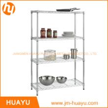 Estantería de malla de alambre de almacenamiento de acero con pantalla de metal de 4 estantes