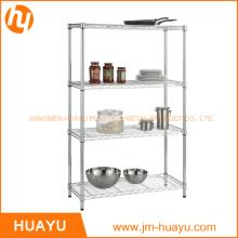 4-Shelf Chrome Metal Display Steel Storage Wire Mesh Rack
