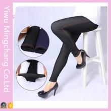 Оптовые большие высокоэластичные черные джинсовые поножи для полных женщин