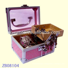New arrival aluminum jewelry case with glass lid
