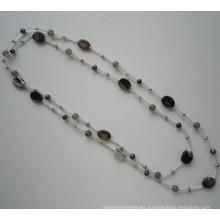 Daking anudada cordón collar con Perla de río y piedra