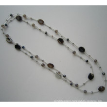 Daking Hand Knotted Cord Necklace with Freshwater Pearl and Stone