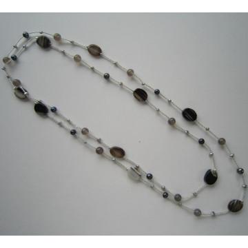Daking Handspun cordon collier avec perles d'eau douce et Pierre