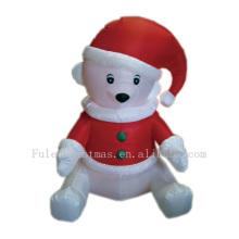Felices vacaciones oso polar inflable para decoración navideña
