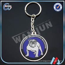 Sedex 4p promotional metal Revolving keychain with epoxy dog logo keyring