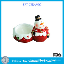 Christmas Snowman Porcelain Candle Holder