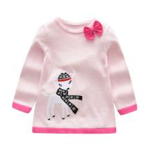 Новая мода Осень Зима полые пуловер свитер ребенка дети девочки вязаный свитер для девочки свитера платье